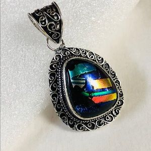 Jewelry - Colorful Dichroic Glass Pendant w/ chain